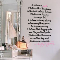 Vertical I Believe In Pink Wall Decal