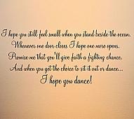 Script Hope You Dance Wall Decal