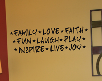 Family Love Faith Words Wall Decal