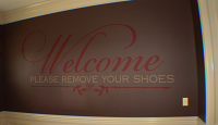 Welcome Remove Shoes Decal